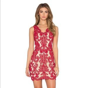 NBD Stunning Red Embroidered Mini Dress